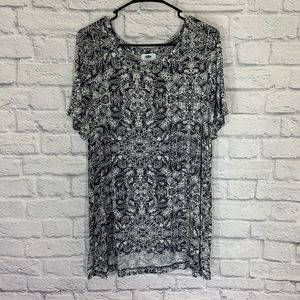 Old navy gray & white printed jersey knit tunic L